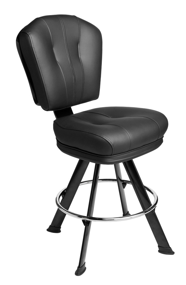Monte Carlo Gaming Stool. Casino slot and table game chair on a 4-legged base with footring and swivel mechanism.