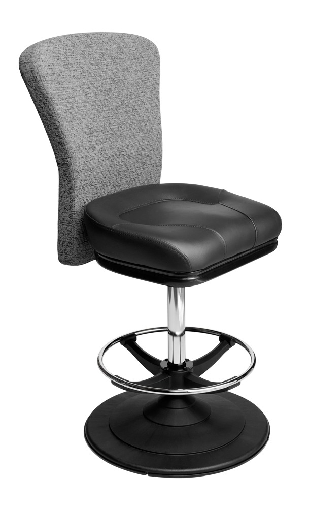 Apollo casino chair. Casino seating for slot and table games. Disc base gaming stool with footring and swivel mechanism.