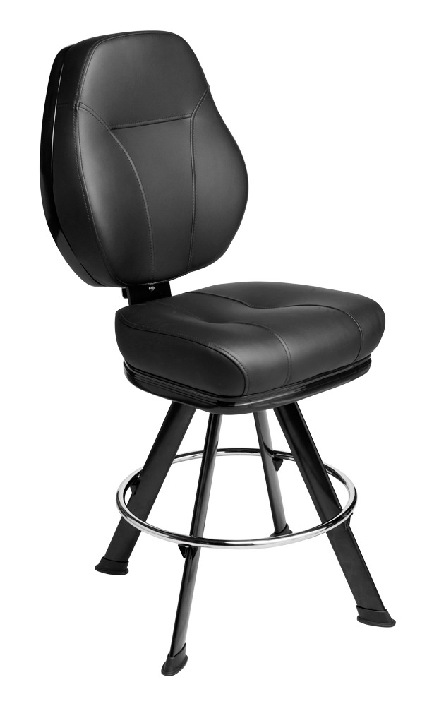 Gemini casino chair. Casino seating for slot and table games. 4-Legged base gaming stool with footring and swivel mechanism.
