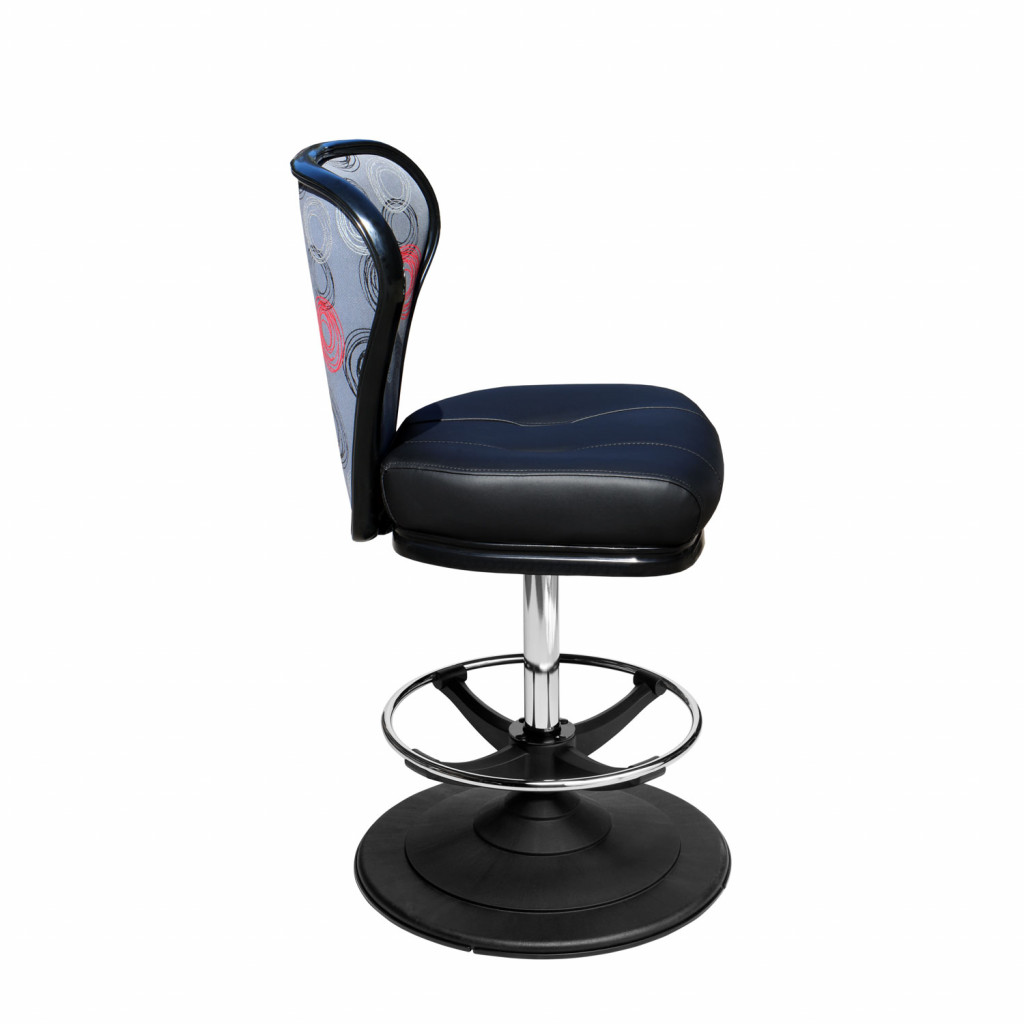 Lunar casino chair and gaming stool with quick-release seat