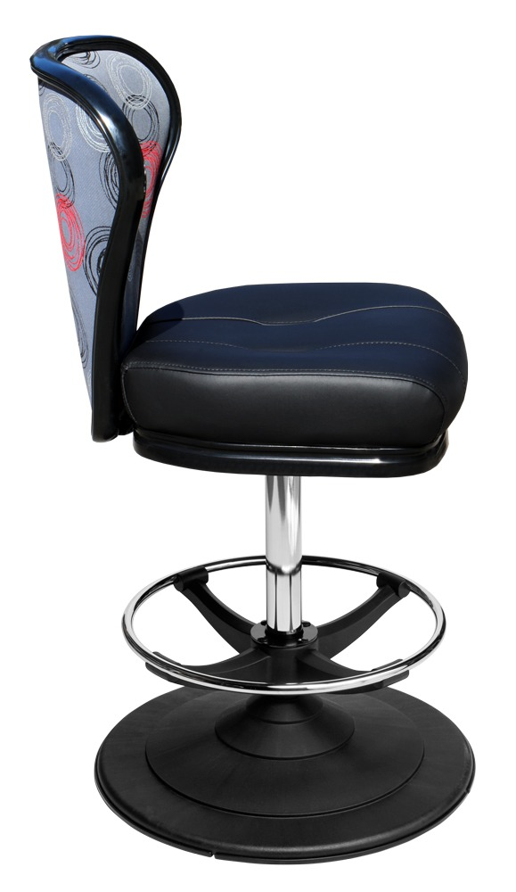 Lunar casino chair. Casino seating for slot and table games. Disc base gaming stool with footring and swivel mechanism.