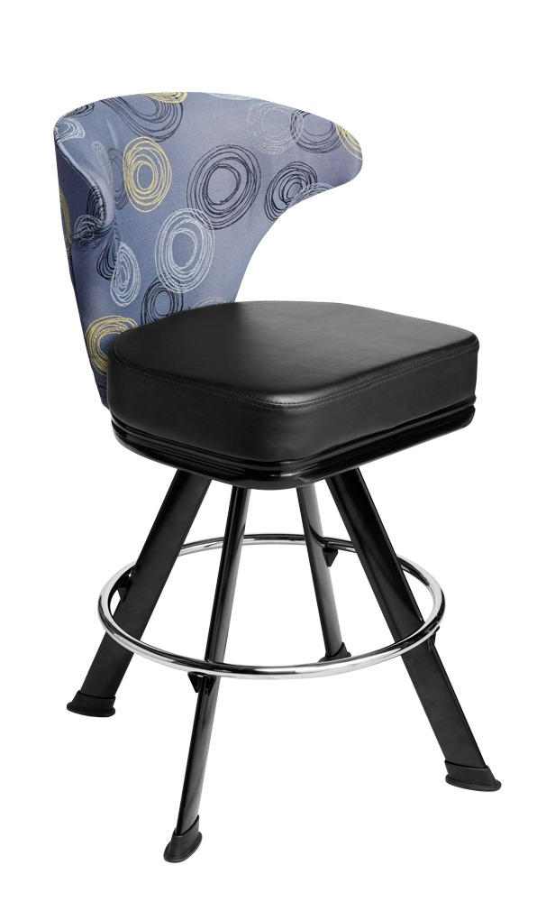 Mercury casino chair. Casino seating for slot and table games. 4-Legged gaming stool with footring and swivel mechanism.