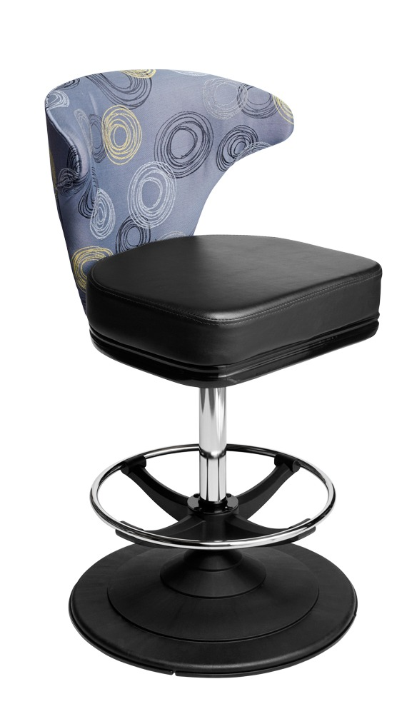 Mercury casino chair. Casino seating for slot and table games. Disc base gaming stool with footring and swivel mechanism.