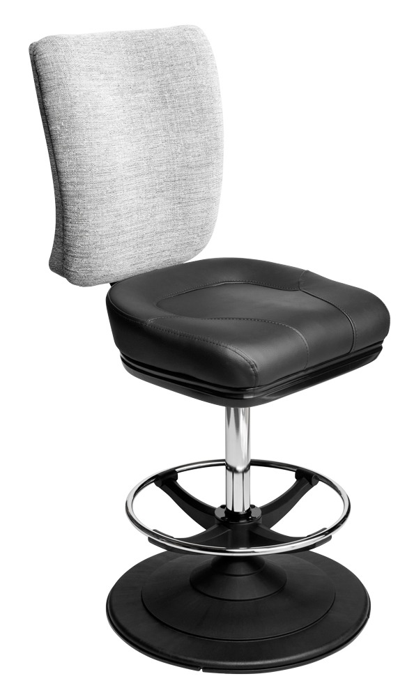 Neptune casino chair. Casino seating for slot and table games. Disc base gaming stool with footring and swivel mechanism.