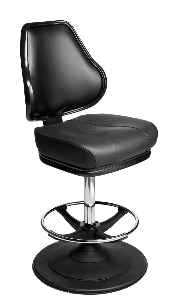 Orion casino chair. Casino seating for slot and table games. Disc base gaming stool with footring and swivel mechanism.