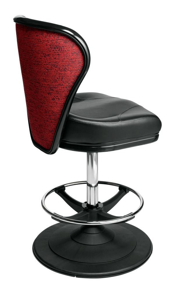 Pegasus casino chair. Casino seating for slot and table games. Disc base gaming stool with footring and swivel mechanism.