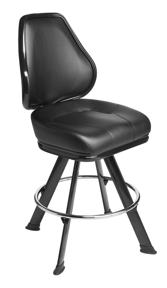 Platinum casino chair. Casino seating for slot and table games. 4-Legged gaming stool with footring and swivel mechanism.