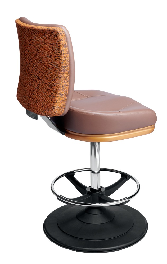 Poseidon casino chair. Casino seating for slot and table games. Disc base gaming stool with footring and swivel mechanism.