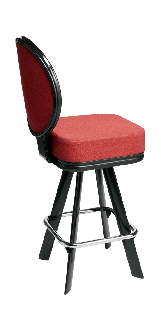 Saturn casino chair. Casino seating for slot and table games. 4-Legged gaming stool with footring and swivel mechanism.