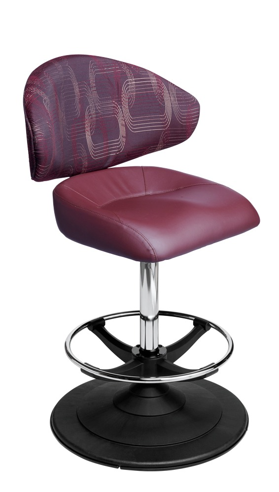Waratah casino chair. Casino seating for slot and table games. Disc base gaming stool with footring and swivel mechanism.