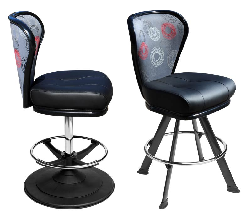 Lunar Gaming Stool. Casino slot and table game chair with footring and swivel mechanism.