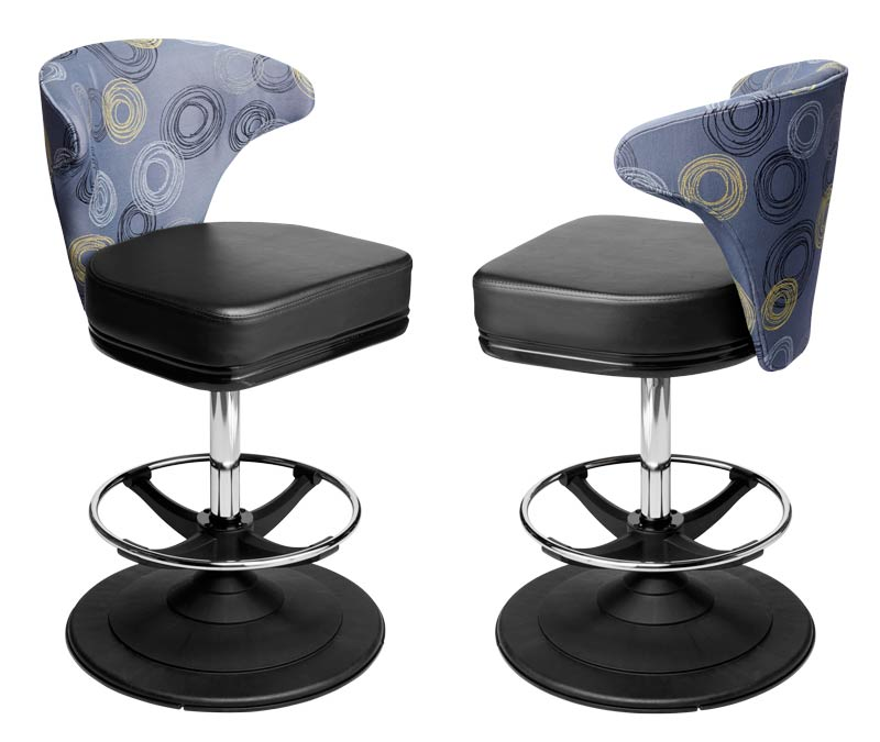 Mercury Gaming Stool. Casino slot and table game chair with footring and swivel mechanism.