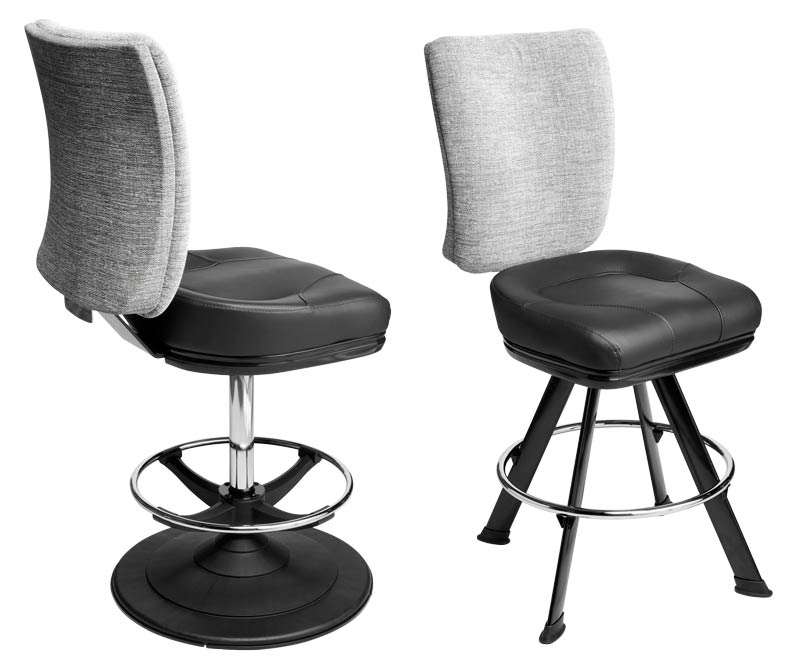 Neptune Gaming Stool. Casino slot and table game chair with footring and swivel mechanism.