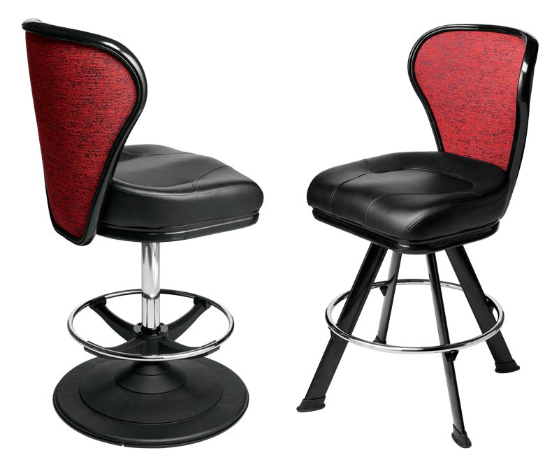 Pegasus Gaming Stool. Casino slot and table game chair with footring and swivel mechanism.