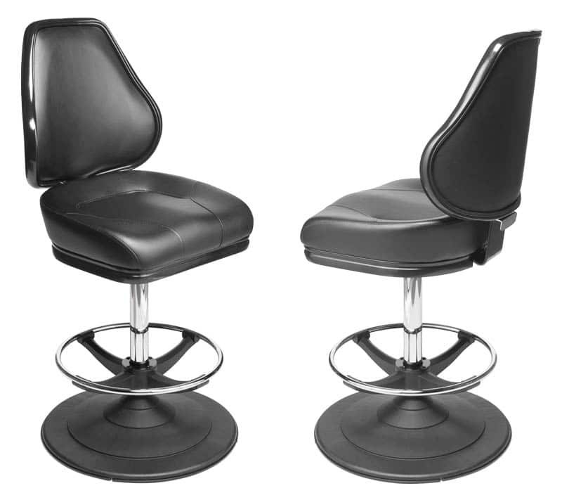 Platinum Gaming Stool. Casino slot and table game chair with footring and swivel mechanism.