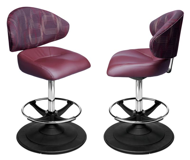 Waratah Gaming Stool. Casino slot and table game chair with footring and swivel mechanism.